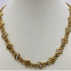 """Vintage Gold Tone Rhinestone Necklace 16"""""""
